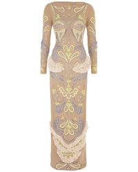 Matthew Williamson Cutwork Ikat Embroidery Column Gown - Lyst