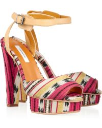 Carven Printed Jacquard Platform Sandals multicolor - Lyst