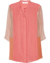 Chloé Color Block Silk Crepe And Georgette Blouse pink - Lyst