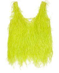 Oscar de la Renta Feathered Silk Top yellow - Lyst