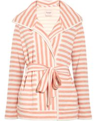 1029680a57 Juicy Couture - Hooded Striped Jersey Robe - Lyst