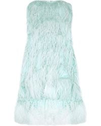 Oscar de la Renta Feathered Silk Dress blue - Lyst