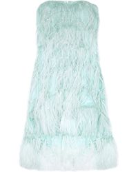 Oscar de la Renta Feathered Silk Dress - Lyst