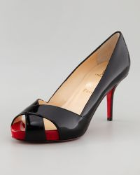 Christian Louboutin Shelley Peeptoe Pump Blackred - Lyst