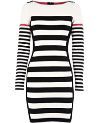 Karen Millen Block Stripe Knit Dress - Lyst