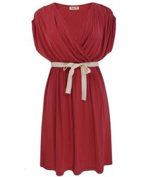 Lazy Lu - Red Wrap Front Dress - Lyst