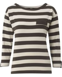NW3 by Hobbs - Nw3 Bold Stripe Jersey Long Sleeved Top with Pocket - Lyst