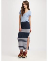 James Perse Striped Maxi Skirt - Lyst