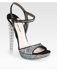 Miu Miu Glitter and Suede Jeweled Heel Sandals - Lyst