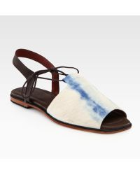 Rachel Comey Kiefer Tiedyed Canvas and Leathertrim Slingback Sandals - Lyst
