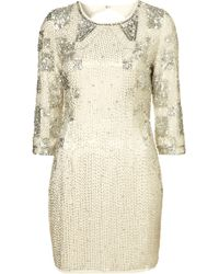 Topshop Disco Sequin Bodycon Dress By Dress Up Topshop beige - Lyst