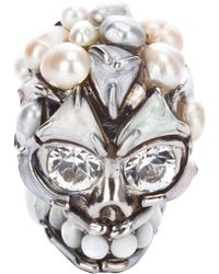Alexander McQueen Skull and Pearl Ring white - Lyst