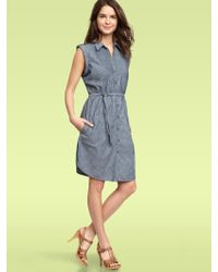 Gap Chambray Pintucked Dress - Lyst