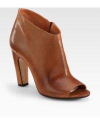 Maison Margiela Leather Peep Toe Ankle Boots - Lyst