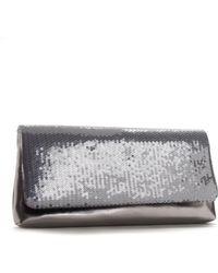La Regale Metallic Satin Flap Clutch silver - Lyst