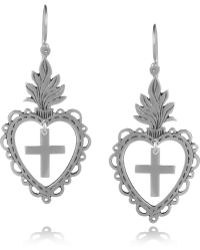 Laurent Gandini - Sterling Silver Heart Drop Earrings - Lyst