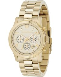 Michael Kors Women'S Chronograph Runway Gold-Tone Stainless Steel Bracelet Watch 38Mm Mk5055 - Lyst
