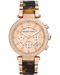 Michael Kors Women'S Chronograph Parker Tortoise Acetate And Rose Gold-Tone Stainless Steel Bracelet Watch 39Mm Mk5538 - Lyst