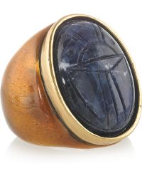 Oscar de la Renta 24karat Goldplated Scarab Ring - Lyst