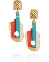 Oscar de la Renta Enameled 24karat Gold-Plated Guitar Clip Earrings - Lyst