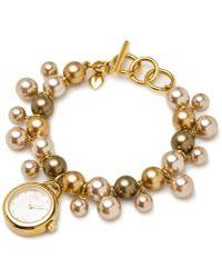 Carolee - Womens Glass Pearl Charm Bracelet 22mm - Lyst