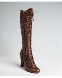 Celine Aztec Cocoa Croc Embossed Leather Lace Up Tall Boots brown - Lyst