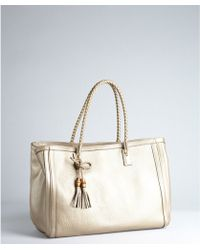 Gucci Warm Gold Leather Bella Braided Handle Tote - Lyst