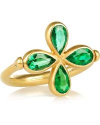 Marie-hélène De Taillac - Swivel 18karat Mattegold Emerald Ring - Lyst