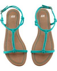 H&M Blue Sandals - Lyst