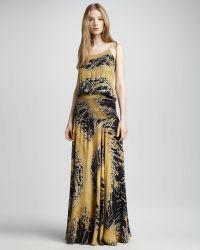 Halston Heritage Printed Satin Gown - Lyst