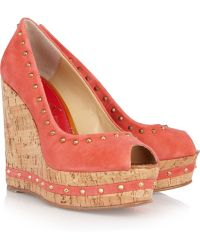 Paloma Barceló Menorca Studded Suede and Cork Wedge Sandals - Lyst
