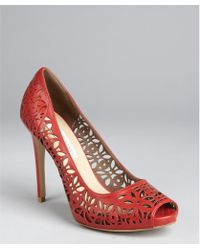 Stella McCartney Redwood Faux Leather Cutout Peep Toe Heels red - Lyst