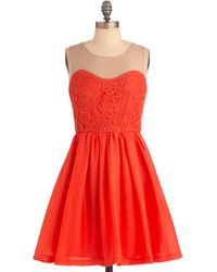 ModCloth Coral Queen Dress - Lyst