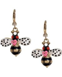 Betsey Johnson Bumble Bee Drop Earrings - Lyst