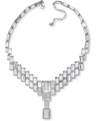 Eci - Clear Crystal Baguette Necklace - Lyst
