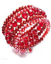 Hue - Red Rondelle Beaded Coil Bracelet - Lyst