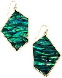 Rachel Roy | Gold Tone Teal Geometric Drop Earrings | Lyst