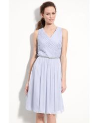 Donna Morgan Belted Ruched Chiffon Dress - Lyst