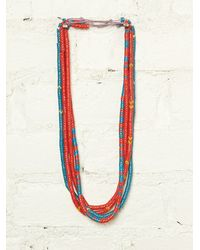 Free People Vintage Red and Blue Beaded Necklaces - Lyst