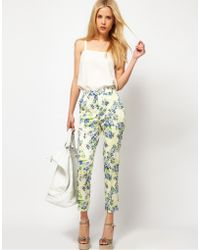 ASOS Collection Asos Ankle Grazer Trousers in Floral Print - Lyst