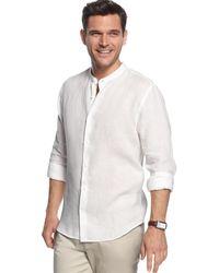 Perry Ellis Long Sleeve Linen Button Down Shirt - Lyst
