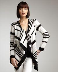 Adrienne Vittadini - Striped Open Cardigan Womens - Lyst