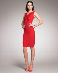 Oscar de la Renta Sleeveless Front-ruffle Dress - Lyst