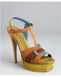 Saint Laurent Tan Colorblock Suede Strappy Tribute Platform Sandals - Lyst