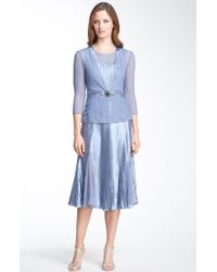 Komarov Pleated Charmeuse Dress & Chiffon Jacket - Lyst