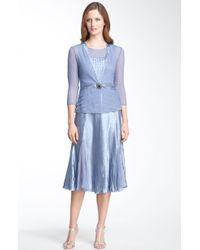 Komarov Pleated Charmeuse Dress & Chiffon Jacket - Lyst