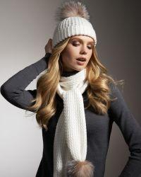 Sofia Cashmere - Fur-Pom Cashmere Hat  - Lyst
