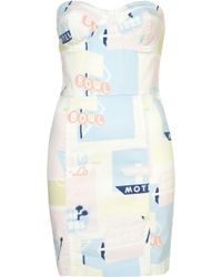 Topshop Printed Denim Bandeau Dress - Lyst