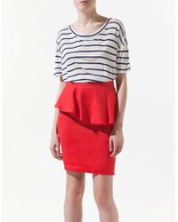 Zara Striped Tshirt with Back Opening - Lyst