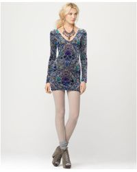 Free People Long Sleeve Floral Printed Velvet Mini - Lyst